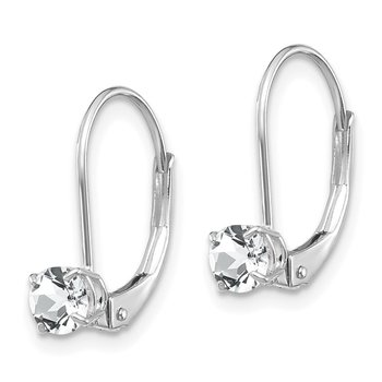 14k White Gold 4mm White Topaz/April Earrings