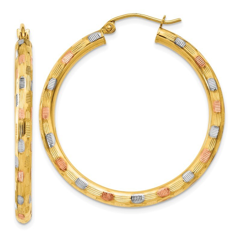 Quality Gold 14k w/White and Rose Rhodium Textured Hoop Earrings