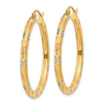 14k w/White and Rose Rhodium Textured Hoop Earrings