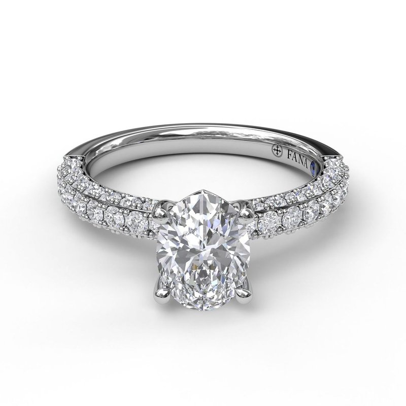 Fana Diamond-Encrusted Engagement Ring with Oval Center Stone