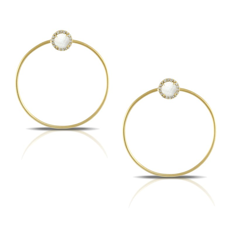 Doves White Orchid Circle Earrings 18KY