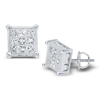 14kt White Gold Womens Princess Diamond Square Cluster Stud Earrings 3/4 Cttw