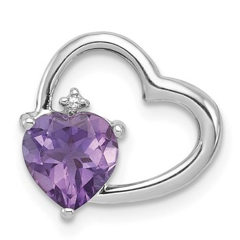 Sterling Silver Rhodium Plated Diamond & Amethyst Heart Chain Slide