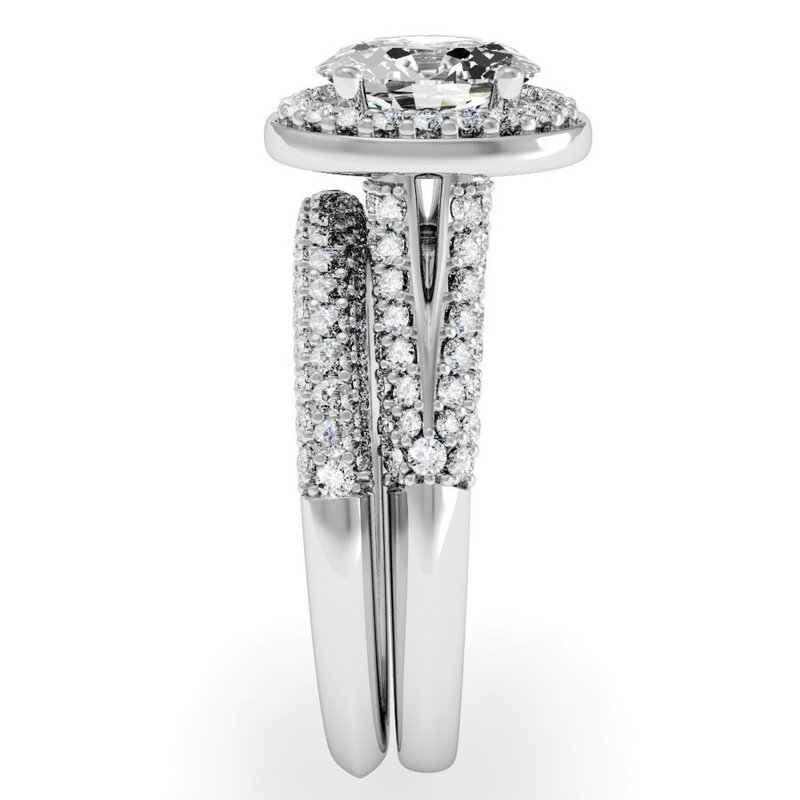 J.F. Kruse Signature Collection Oval Diamond Halo Engagemant Ring with Matching Wedding Band