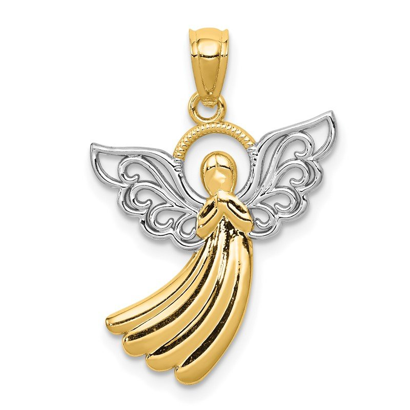 14K w//Rhodium Angel Pendant