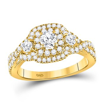14kt Yellow Gold Womens Round Diamond 3-stone Twist Bridal Wedding Engagement Ring 1.00 Cttw