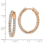 Quality Gold Sterling Silver Rose-tone CZ In & Out Oval Hoop Earrings