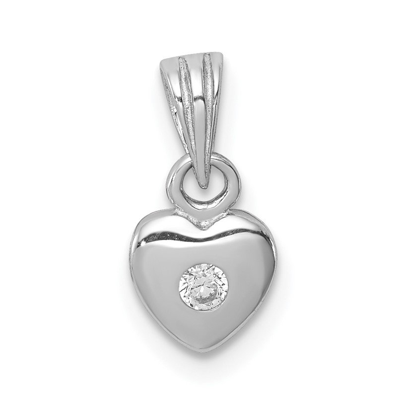 Quality Gold Sterling Silver Rhodium-plated w/CZ Heart Pendant