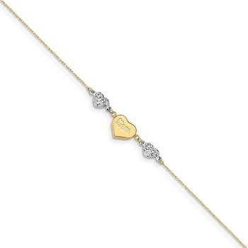 14K Two-tone Diamond-cut Puffed Hearts MOM 9in Plus 1in ext Anklet