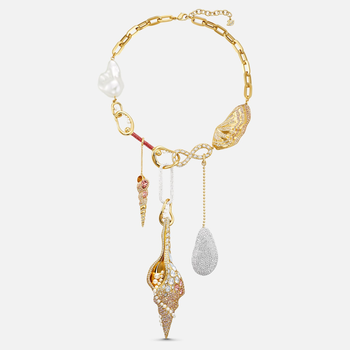 Sculptured Shells Necklace, Light multi-colored, Gold-tone plated