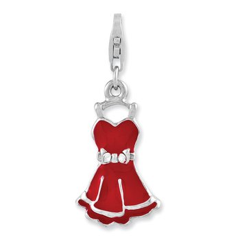 Sterling Silver Rhodium-plated CZ Enameled Dress w/Lobster Clasp Charm