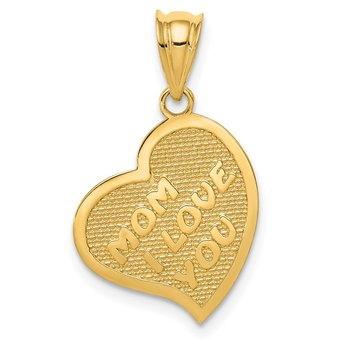 14k Polished Mom I Love You/Cross Reversible Heart Pendant