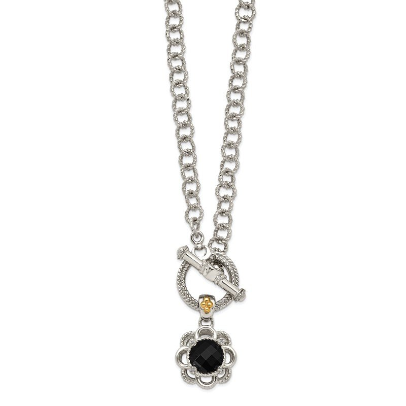 Quality Gold Sterling Silver w/ 14K Accent Onyx and Diamond Toggle Necklace