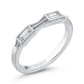 18K White Gold Baguette Diamond Wedding Band