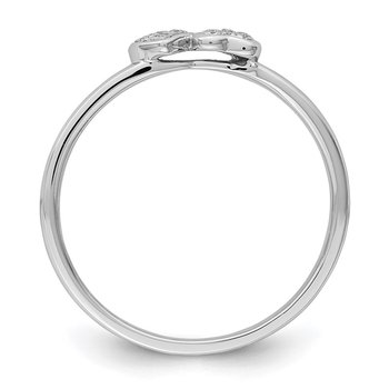 Sterling Silver Rhodium White Diam. Stackable Ring