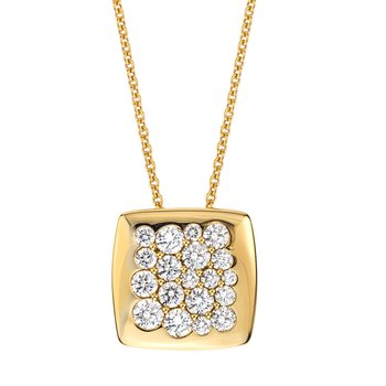 Yellow Gold Diamond 15mm Square Tango Pendant