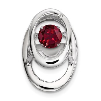 Sterling Silver Rhodium Created Ruby Birthstone Vibrant Chain Slide
