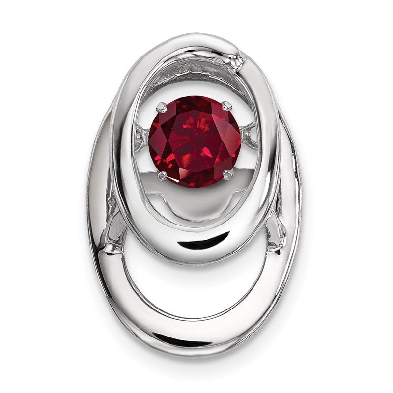 Quality Gold Sterling Silver Rhodium Created Ruby Birthstone Vibrant Chain Slide