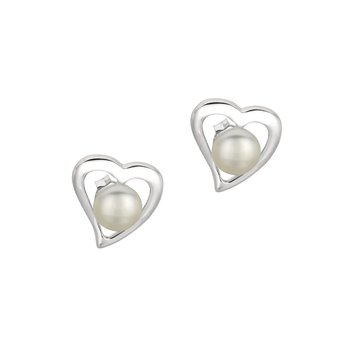 Silver Freshwater Pearl Heart Stud Earrings
