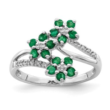 Sterling Silver Rhodium-plated 3 Flower Emerald and Diamond Ring