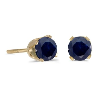 4 mm Round Sapphire Screw-back Stud Earrings in 14k Yellow Gold