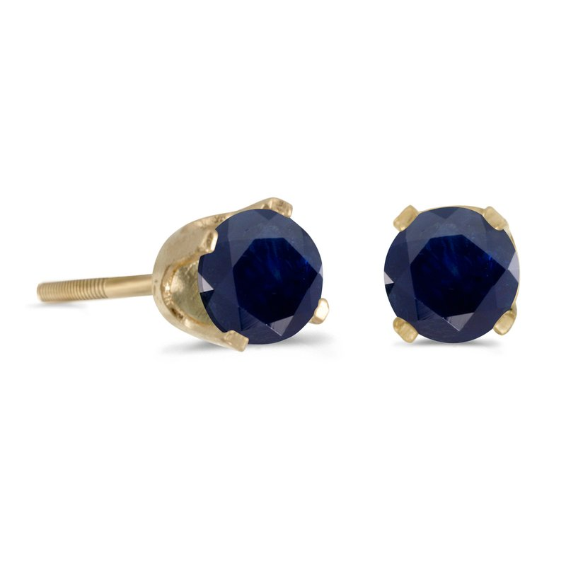 Color Merchants 4 mm Round Sapphire Screw-back Stud Earrings in 14k Yellow Gold