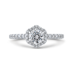 Promezza 14K White Gold Round Diamond Halo Engagement Ring