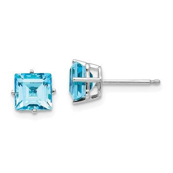 14k White Gold 6mm Princess Cut Blue Topaz Earrings