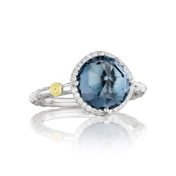 Pavé Simply Gem Ring featuring London Blue Topaz