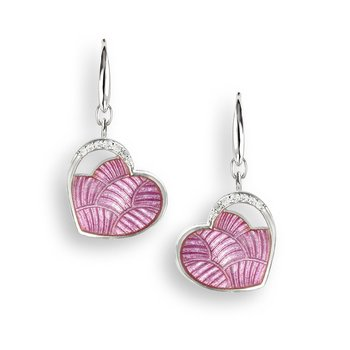 Pink Heart Wire Earrings.Sterling Silver-White Sapphires