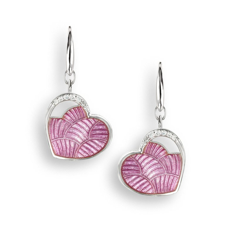 Nicole Barr Designs Pink Heart Wire Earrings.Sterling Silver-White Sapphires