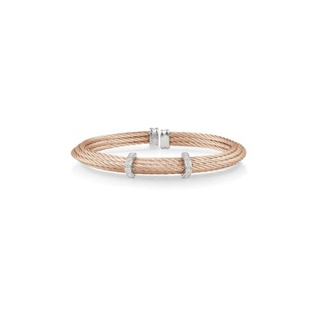 Rose Cable Tiered Stackable Bracelet with Double Diamond Station set in 18kt White Gold