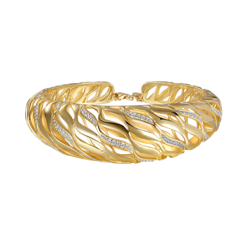 14K domed shape bangle with 110 diamonds 1.06ct