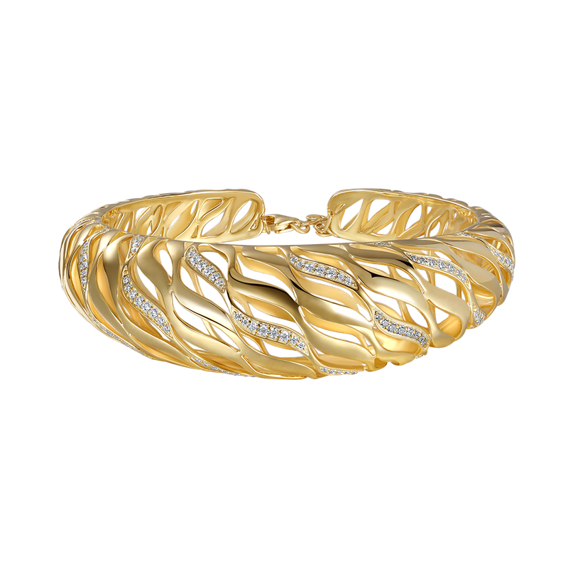 Shula NY 14K domed shape bangle with 110 diamonds 1.06ct
