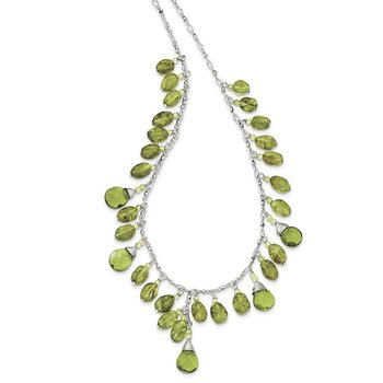 Sterling Silver Green Peridot Crystal Drop Necklace