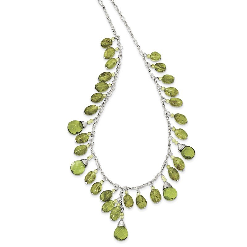Quality Gold Sterling Silver Green Peridot Crystal Drop Necklace