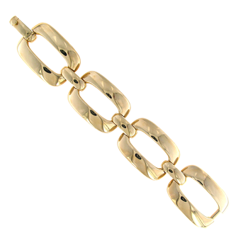 18KT YELLOW GOLD RECTANGULAR LINK BRACELET