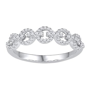 10kt White Gold Womens Round Diamond Linked Band Ring 1/4 Cttw