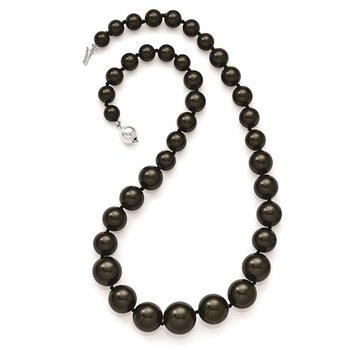 Sterling S Majestik Rh-pl 8-16mm Graduated Blk Imitat Shell Pearl Necklace
