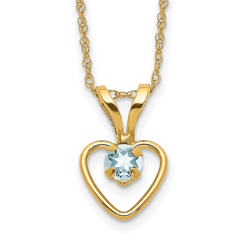 Quality Gold 14k Madi K 3mm Aquamarine Heart Birthstone Necklace