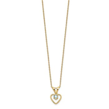 14k Madi K 3mm Aquamarine Heart Birthstone Necklace