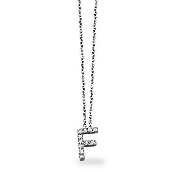 "Diamond Block Initial ""F"" Necklace in 14k White Gold with 12 Diamonds weighing .09ct tw"