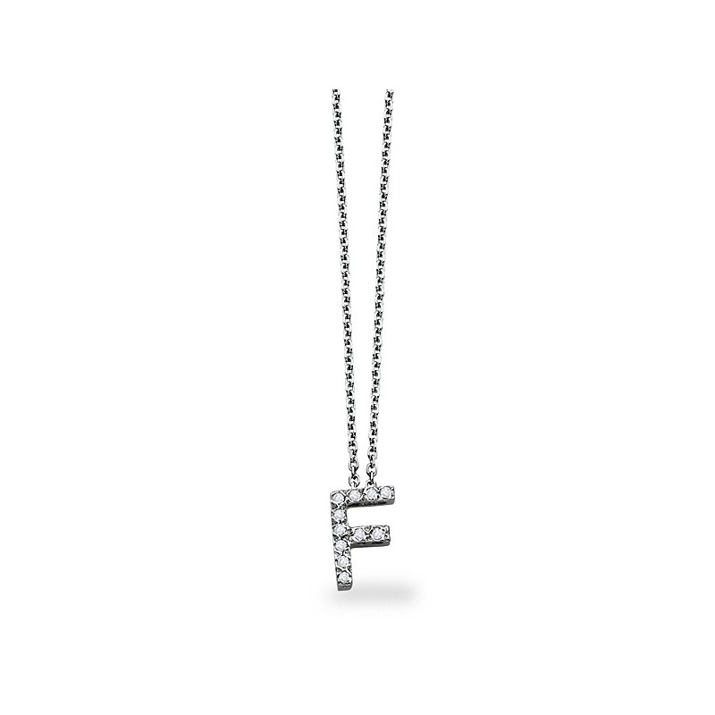 "MAZZARESE Fashion Diamond Block Initial ""F"" Necklace in 14k White Gold with 12 Diamonds weighing .09ct tw"