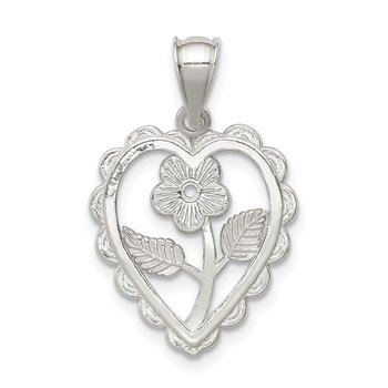 Sterling Silver Polished Mini Floral Center Heart Pendant