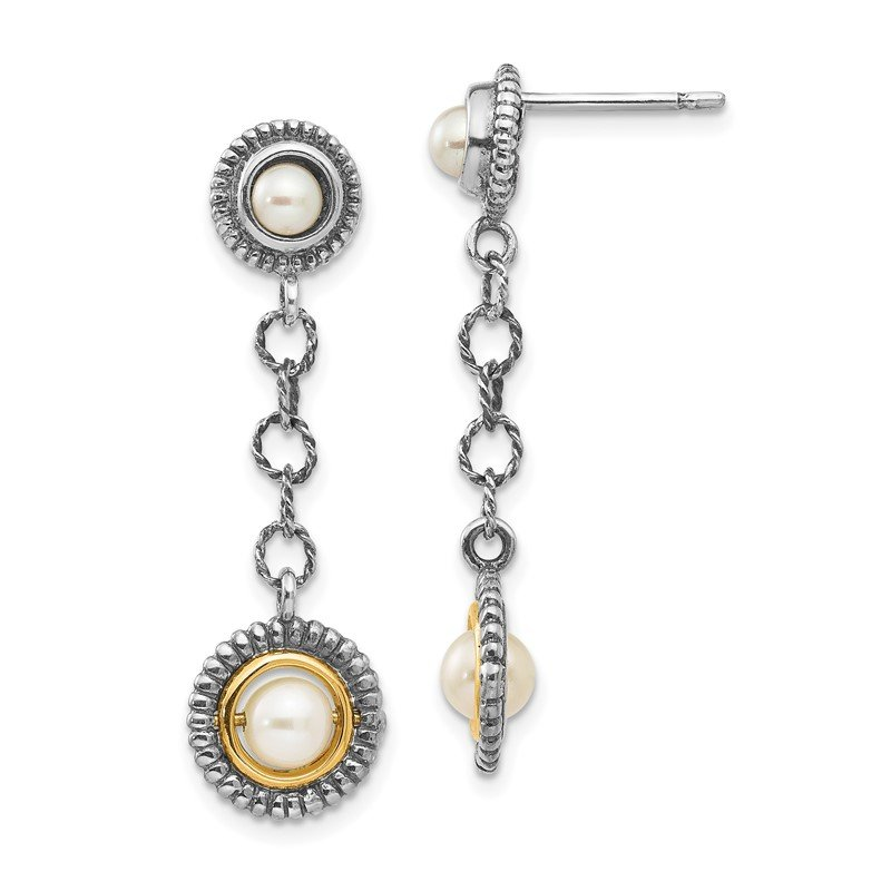 Quality Gold Sterling Silver w/14k 4 & 5mm FW Cultured Pearl Earrings
