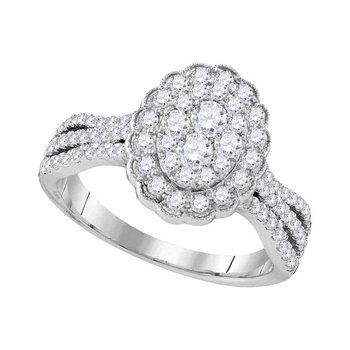 10kt White Gold Womens Round Diamond Oval Flower Cluster Ring 1.00 Cttw