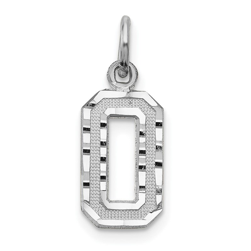 Quality Gold 14kw Casted Small Diamond Cut Number 0 Charm