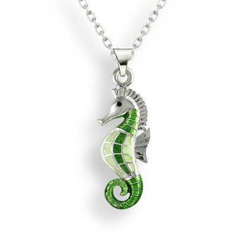 Green Seahorse Necklace.Sterling Silver