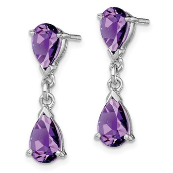 Sterling Silver Rhodium Plated Amethyst Post Dangle Earrings