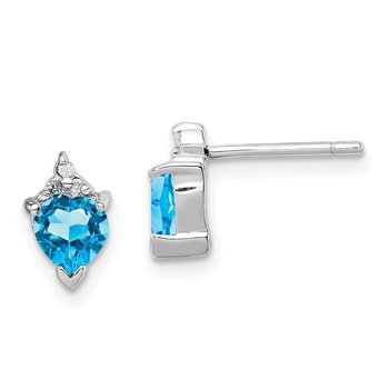 Sterling Silver Rhodium Heart Swiss Blue Topaz & Diamond Post Earrings
